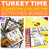 Elapsed Time and Telling Time Centers | Thanksgiving Theme
