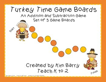 Game Boards - Addition and Subtraction Practice - Turkey Time Edition
