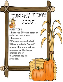 Turkey Time Math Story Problems