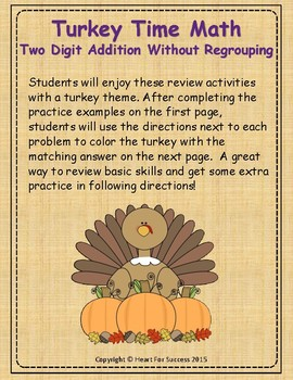 Thanksgiving Turkey Time Math: Two Digit Addition Without Regrouping