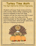Thanksgiving Turkey Time Math: Two Digit Subtraction Without Regrouping