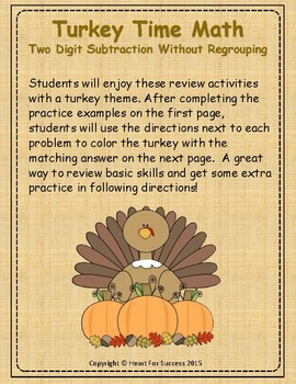 Thanksgiving Turkey Time Math: Two Digit Subtraction Witho