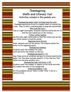 Turkey Time Math and Literacy Fun