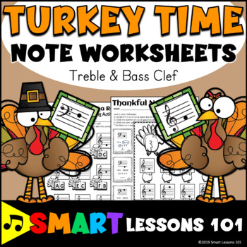 Turkey Time Note Name Worksheets: Treble Clef Bass Clef Thanksgiving Activities
