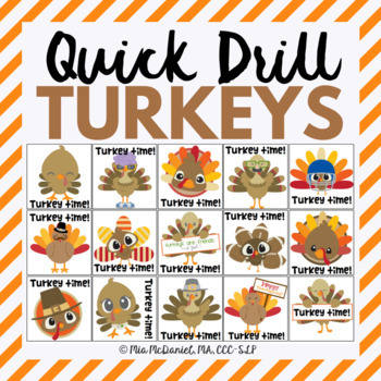 Quick Drill Turkeys {for speech therapy or any skill drill}