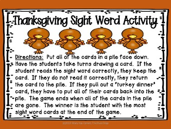Turkey Time Sight Word Activity