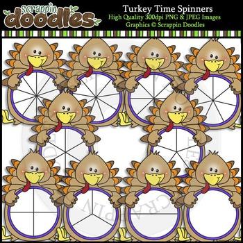 Turkey Time Spinners Clip Art & Line Art