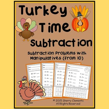 Turkey Time Subtraction with Manipulatives (from 10)