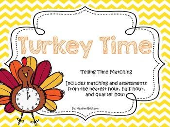 Turkey Time {Telling Time Matching}