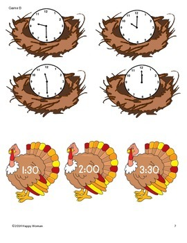 Turkey Time (Telling Time to the Hour and Half-Hour)