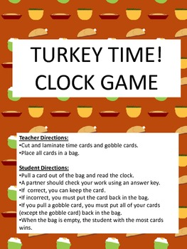 Turkey Time! Thanksgiving Clocks Game / Telling Time