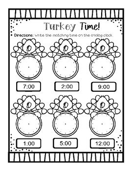 Turkey Time- Thanksgiving Time to the Hour and Half Hour Packet