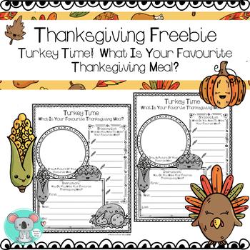 Turkey Time! Thanksgiving Worksheet Freebie!