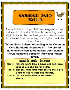 Turkey Time Tiered Math Tub