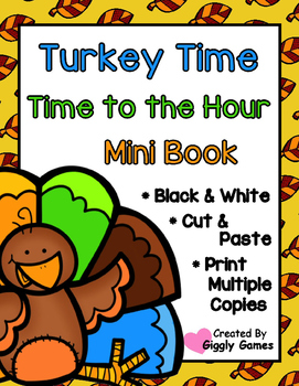 Turkey Time Time to the Hour Cut and Paste Mini Book