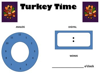 Turkey Time - Time to the hour 3 ways