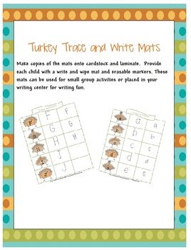 Turkey Time Trace and Write Mats