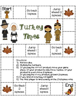 Turkey Times: A set of 13 Thanksgiving Multiplication board games