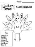 Turkey Times Color by Number
