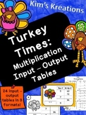 Turkey Times: Multiplication Input-Output Tables (color, b/w, printable)