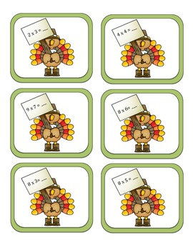 Turkey Times- Multiplication Memory Game or Center
