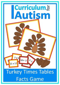 Thanksgiving Turkey Times Tables Multiply Divide Math Game, Autism