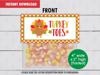 Turkey Toes Treat Bag Topper, Printable Thanksgiving Goodies Topper