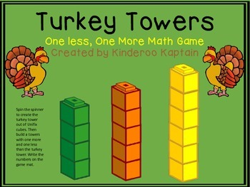 Turkey Towers One Less One More Math Game