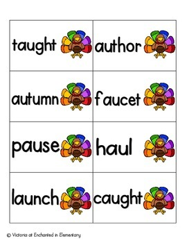 Turkey Tracking Phonics: Vowel Digraphs and Diphthongs Pack 2: aw, au, oi, oy