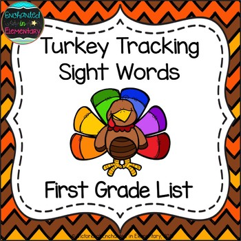 Turkey Tracking Sight Words! First Grade List