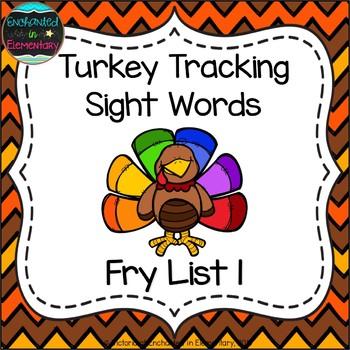 Turkey Tracking Sight Words! Fry List 1