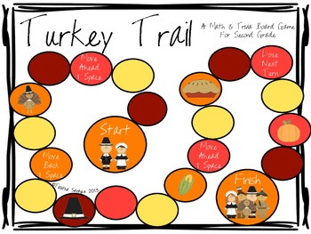 Turkey Trail- A Math and Thanksgiving Trivia Board Game Gr. 2 QR EDITION!