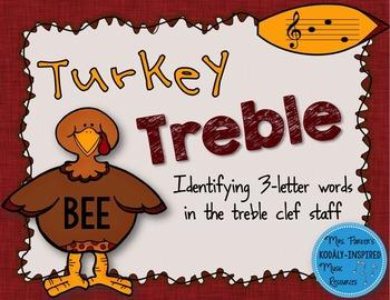 Turkey Treble: Identifying 3-Letter Words in the Treble Clef Staff