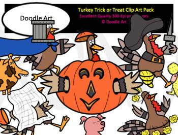 Turkey Trick or Treat Clip Art Pack