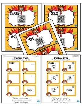Turkey Trot: 3-Digit Subtraction Scavenger Hunt with QR Codes