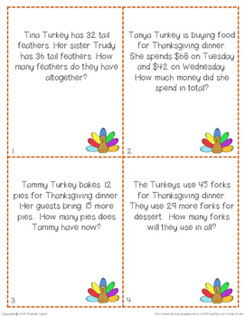 Thanksgiving Two-Digit Addition Word Problems