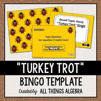 "Bingo Game Template: Thanksgiving ""Turkey Trot"""
