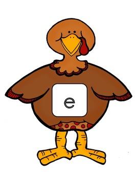 Turkey Trot! CVC Short Vowel Match-Up Literacy Center