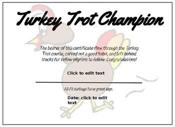 Turkey Trot Certificate