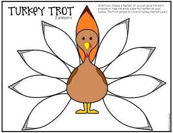 Turkey Trot Game {Addition & Phonics Freebie}