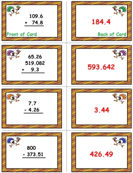 Turkey Trot Game Cards (Add & Subtract Decimals) Sets 4-5-6