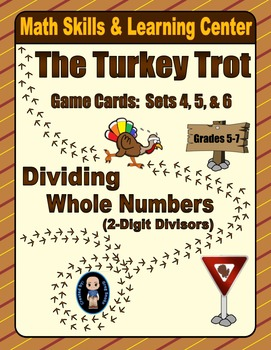 Turkey Trot Game Cards (Division with 2-Digit Divisors) Sets 4-5-6