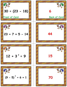 Turkey Trot Game Cards (Order of Operations) Sets 4-5-6