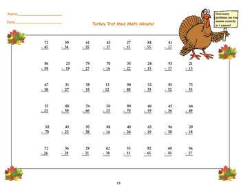 Turkey Trot Mad Math Minutes