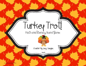 Turkey Trot Math and Literacy Board Game
