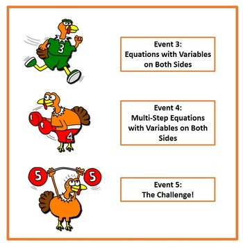 Turkey Trot Thanksgiving Equations Tiered Differentiated  8.EE.7 Printables