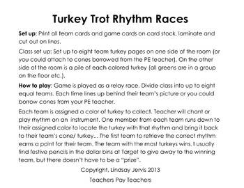Turkey Trot Rhythm Races: half note