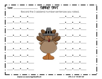 Turkey Trot: a dice game to practice adding 3 addends for sums 3 to 18