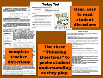Turkey Trot – factor & multiple math game – Thanksgiving, fall theme