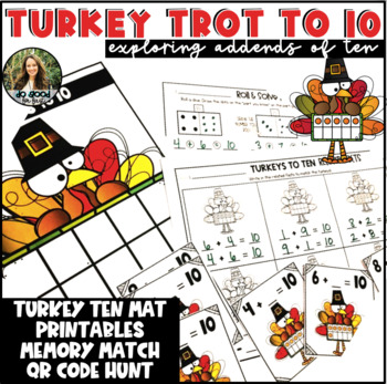 Turkey Trot to 10 - Addends to 10, Missing Parts of 10